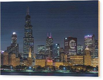 Wood Print featuring the photograph Chicago Skyline Go Gubs  by Emmanuel Panagiotakis