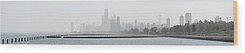 Chicago Skyline In Fog Wood Print