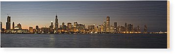 Chicago Skyline Panorama Wood Print by Steve Gadomski