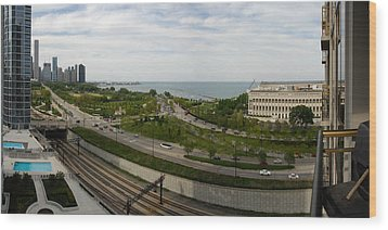 Chicago Skyline Showing Monroe Harbor Wood Print by Michael Bessler
