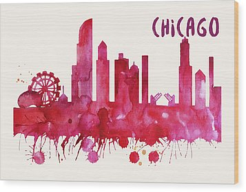 Chicago Skyline Watercolor Poster - Cityscape Painting Artwork Wood Print