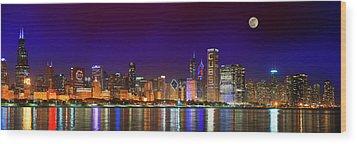 Chicago Skyline With Cubs World Series Lights Night, Moonrise, Lake Michigan, Chicago, Illinois Wood Print