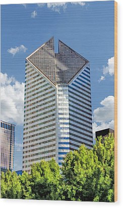 Wood Print featuring the painting Chicago Smurfit-stone Building by Christopher Arndt
