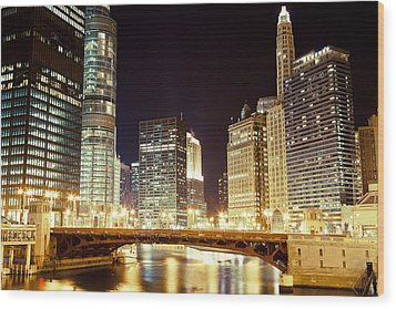 Chicago State Street Bridge At Night Wood Print by Paul Velgos