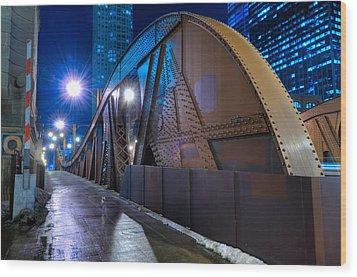 Chicago Steel Bridge Wood Print by Steve Gadomski