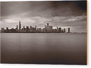 Chicago Storm Wood Print by Steve Gadomski