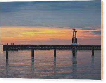 Wood Print featuring the photograph Chicago Sunrise At North Ave. Beach by Adam Romanowicz