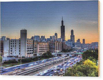 Chicago Sunrise Rush Hour Wood Print by Shawn Everhart
