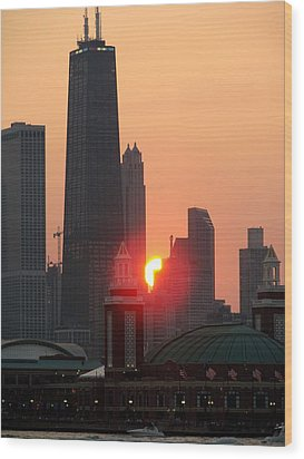 Chicago Sunset Wood Print by Glory Fraulein Wolfe