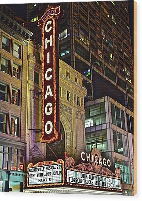 Chicago Theater Aglow Wood Print