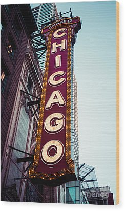 Chicago Theatre Marquee Sign Vintage Wood Print by Paul Velgos