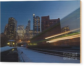 Chicago Train Blur Wood Print by Sven Brogren