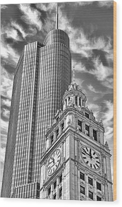 Wood Print featuring the photograph Chicago Trump And Wrigley Towers Black And White by Christopher Arndt