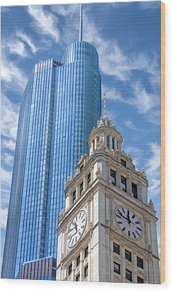 Wood Print featuring the painting Chicago Trump And Wrigley Towers by Christopher Arndt