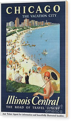 Chicago Vacation City Vintage Poster Restored Wood Print by Carsten Reisinger
