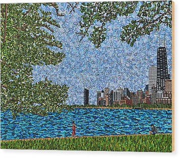 Chicago - View From Lakefront Trail Wood Print by Micah Mullen