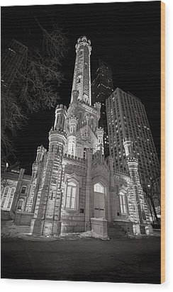 Chicago Water Tower Wood Print by Adam Romanowicz