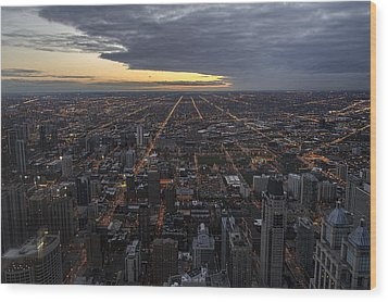 Wood Print featuring the photograph Chicago Westward by Steven Sparks