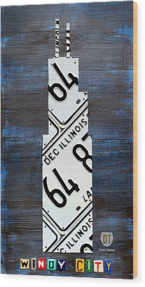 Chicago Windy City Harris Sears Tower License Plate Art Wood Print by Design Turnpike