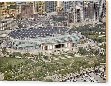 Chicago's Soldier Field Aerial Wood Print by Adam Romanowicz