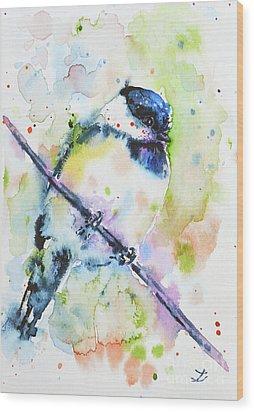 Wood Print featuring the painting Chick-a-dee-dee-dee by Zaira Dzhaubaeva