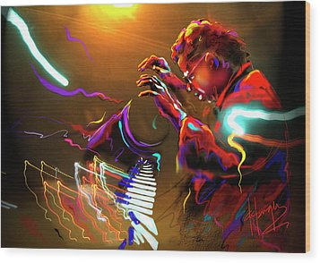 Wood Print featuring the painting Chick Corea by DC Langer