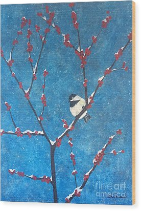 Wood Print featuring the painting Chickadee Bird by Denise Tomasura