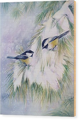 Chickadee Chat Wood Print by Patricia Pushaw