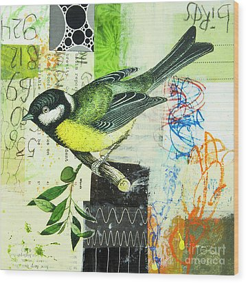 Wood Print featuring the mixed media Chickadee by Elena Nosyreva