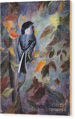 Chickadee In The Fall Wood Print