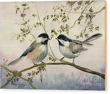 Chickadee Love Wood Print