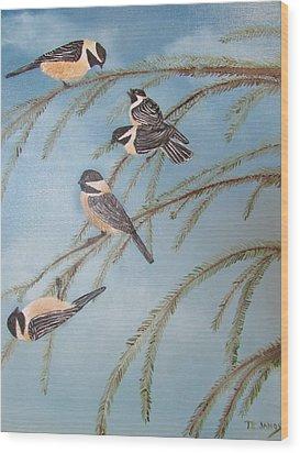 Chickadee Party Wood Print