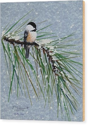 Chickadee Set 8 - Bird 1 - Snow Chickadees Wood Print by Kathleen McDermott