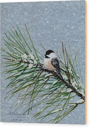 Chickadee Set 8 - Bird 2 - Snow Chickadees Wood Print by Kathleen McDermott