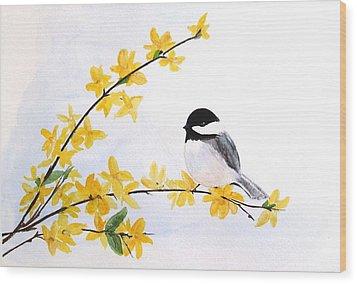 Chickadee Spring  Wood Print