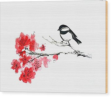 Wood Print featuring the painting Chickadee With Plum Blossom by Sibby S