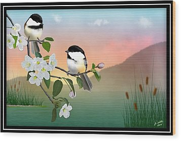 Chickadees And Apple Blossoms Wood Print