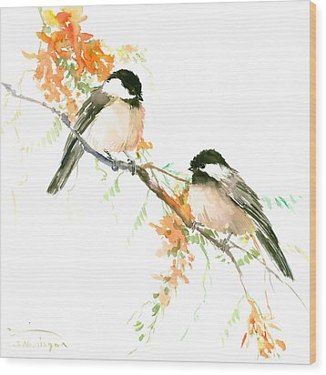Chickadees And Orange Flowers Wood Print by Suren Nersisyan