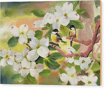 Chickadees In The Dogwood Tree Wood Print by Eileen  Fong