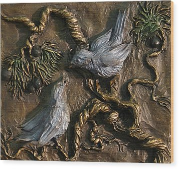Wood Print featuring the relief Chickadees On Juniper With Berries  by Dawn Senior-Trask