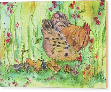Wood Print featuring the painting Chicken Family by Cathie Richardson