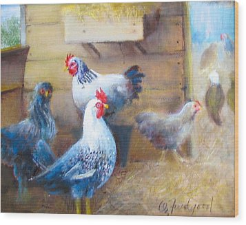 Chickens All Cooped Up Wood Print by Oz Freedgood
