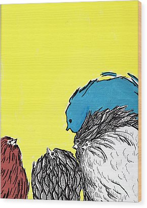 Wood Print featuring the painting Chickens One by Jason Tricktop Matthews