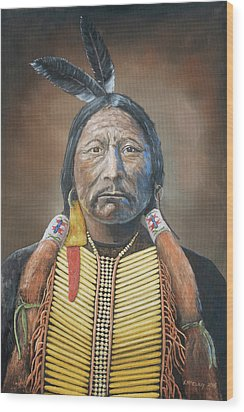 Chief Buckskin Charley Wood Print by Jerry McElroy