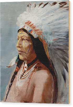 Chief Flying Eagle Of The Blackfoot Tribe Wood Print by Lewis A Ramsey