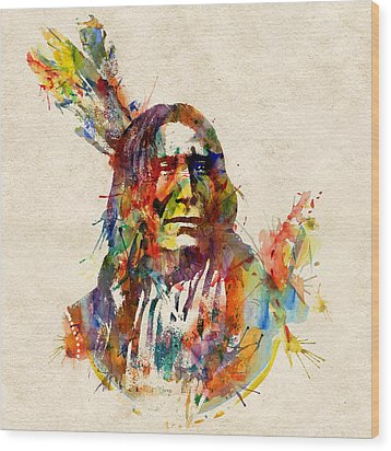 Chief Mojo Watercolor Wood Print