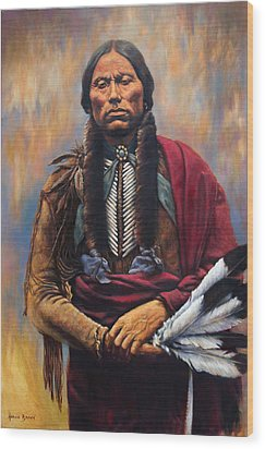 Wood Print featuring the painting Chief Quanah by Harvie Brown