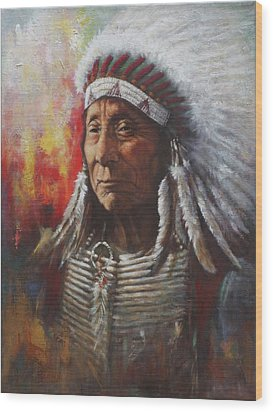 Wood Print featuring the painting Chief Red Cloud by Harvie Brown