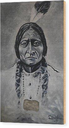 Chief Sitting Bull Wood Print by Eddie Lim