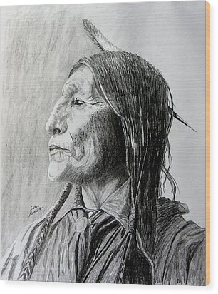 Chief Wolf Robe Wood Print by Stan Hamilton